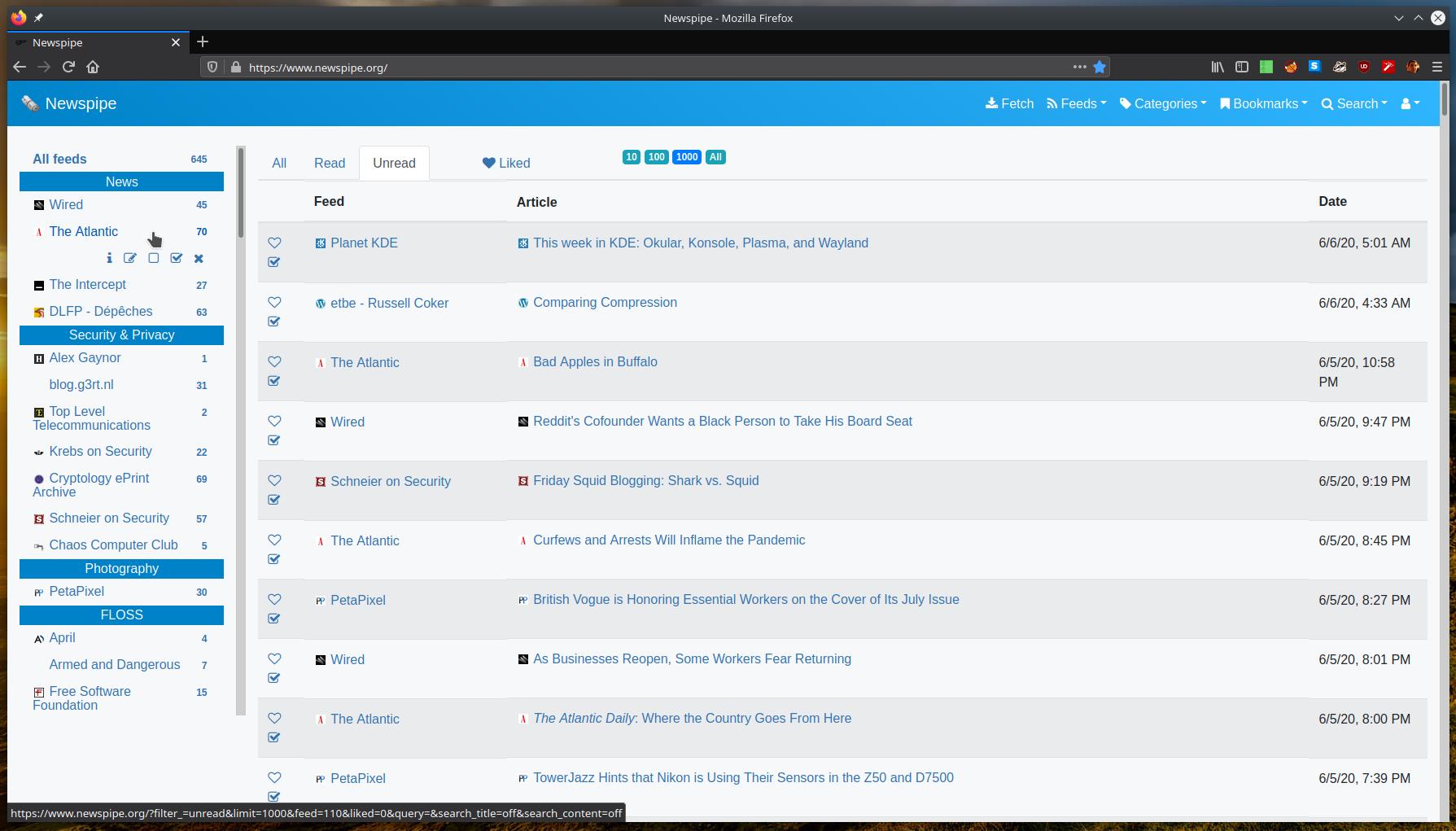 Newspipe Home page