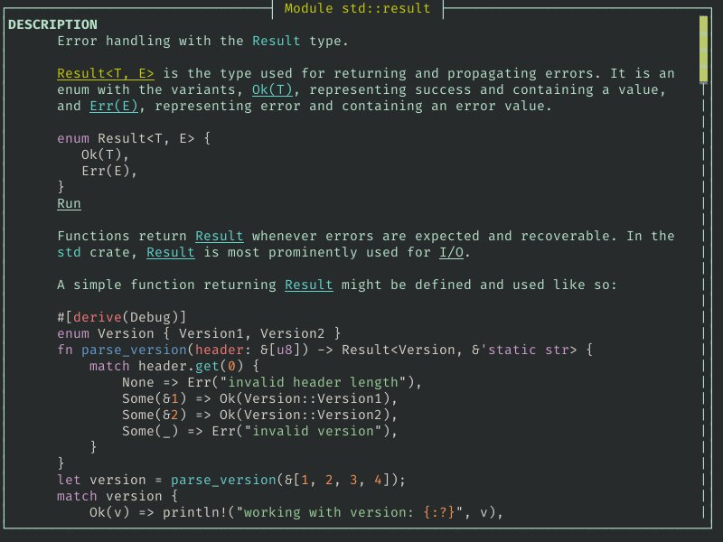 A screenshot of rusty-man displaying the std::result documentation with the tui viewer