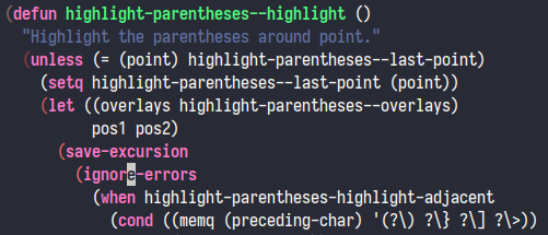 A screenshot showing highlight-parentheses.el in action